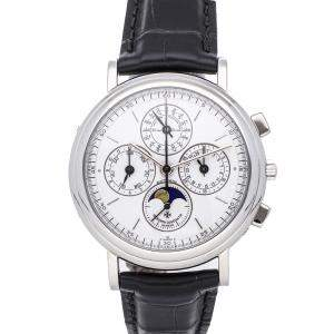 Vacheron Constantin White 18K White Gold And Platinum Patrimony Perpetual Calendar Chronograph 49005/000P-7622 Men's Wristwatch 40 MM