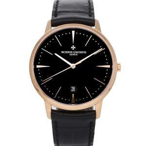 Vacheron Constantin Black 18K Rose Gold Patrimony 85180/000R-9232 Men's Wristwatch 40 MM