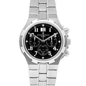 Vacheron Constantin Black Stainless Steel Overseas Chronograph 49140/423A-8886 Men's Wristwatch 40 MM