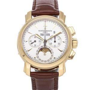 Vacheron Constantin Silver 18K Yellow Gold Malte Perpetual Calendar Chronograph 47112/000J-8913 Men's Wristwatch 39 MM