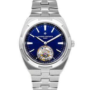 Vacheron Constantin Blue Stainless Steel OverseasTourbillon 6000V/110A-B544 Men's Wristwatch 42.5 MM