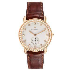 Vacheron Constantin Silver Diamonds 18k Rose Gold Malte Grande 81500 Men's Wristwatch 36 MM