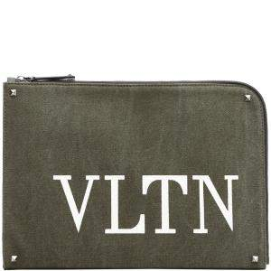 Valentino Olive Canvas VLTN Document Case