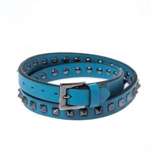 Valentino Blue Leather Double Wrap Rockstud Bracelet
