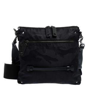 Valentino Black Nylon Camouflage Messenger Bag