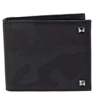 Valentino Black Nylon Camouflage Bifold Wallet