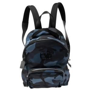Valentino Marine Blue/Black Nylon Camouflage Backpack