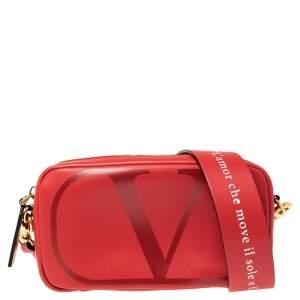 Valentino Red Leather Love Lab Crossbody Bag