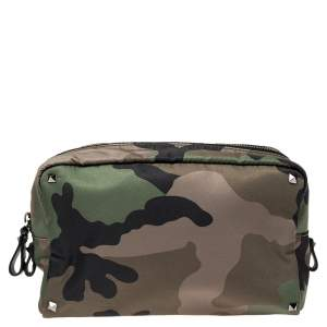 Valentino Army Green Nylon Camouflage Rockstud Toiletry Bag