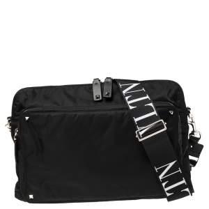 Valentino Black Nylon VLTN Rockstud Messenger Bag