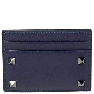 Valentino Navy Leather Rockstud Card Holder