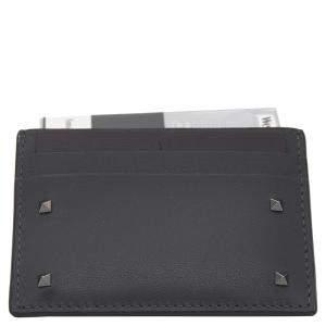 Valentino Dark Grey Leather Rockstud Card Holder