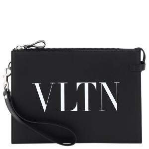 Valentino Garavani Black VLTN Print Pouch