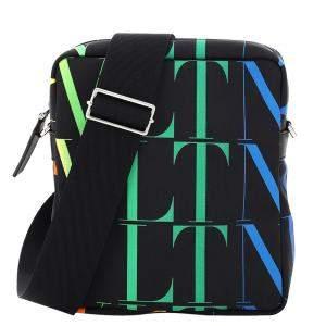 Valentino Garavani Multicolor Nylon VLTN Print Messenger Bag