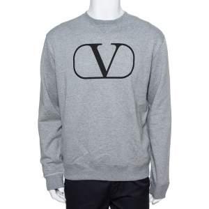 Valentino Grey Cotton Vlogo Sweatshirt L