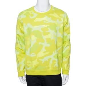 Valentino Neon Yellow Camouflage Print Jersey Crew Neck Sweatshirt Size M