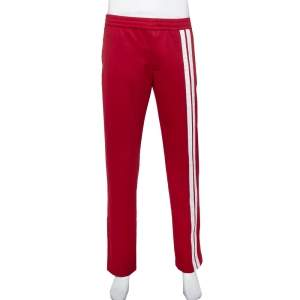 Valentino Burgundy Jersey Side Stripe Detail Track Pants M