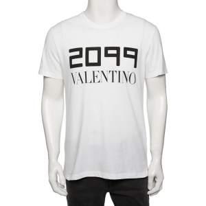 Valentino White Cotton 2099 Logo Printed Round Neck T-Shirt M