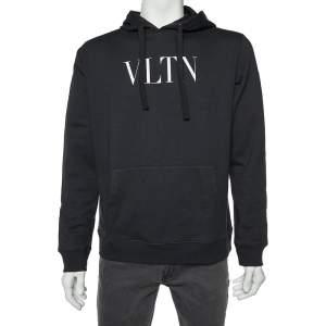 Valentino Black VLTN Print Cotton Hooded Sweatshirt L