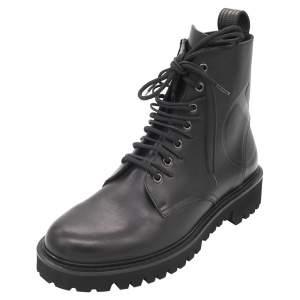 Valentino Black Leather Vlogo Combat Boots Size 45