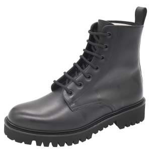 Valentino Black Leather VLTN Combat Boot Size 43