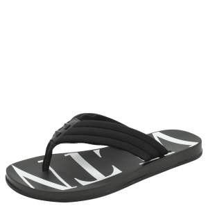 Valentino Black Fabric and Leather VLTN Flip Flops Size 43