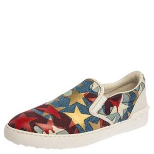 Valentino Multicolor Canvas and Leather Star Printed Camo Slip On Sneakers Size 43