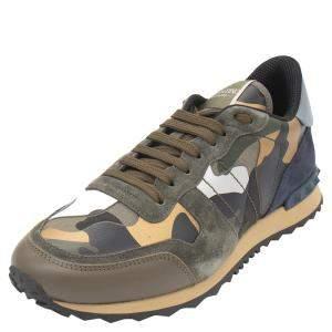 حذاء رياضي فالنتينو روك رانر قماش أخضر أرمي وجلد نمط مموه مقاس 42