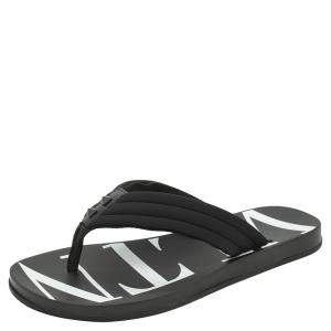 Valentino Black Fabric and Leather VLTN Flip Flops Size 43