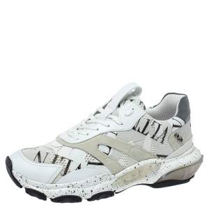 Valentino White/Black Leather, Suede and Mesh Camouflage with Feathers VLTN Grid Bounce Sneakers Size 42