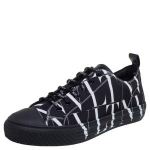 Valentino Black Fabric VLTN Times Giggies Low Top Sneakers Size 42.5