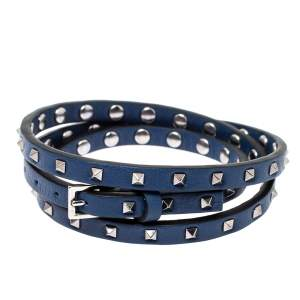 Valentino Rockstud Navy Blue Leather Multi Wrap Bracelet