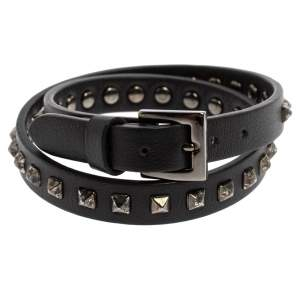 Valentino Rockstud Black Leather Gunmetal Tone Wrap Bracelet