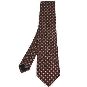 Valentino Brown Geometric Motif Jacquard Silk Tie