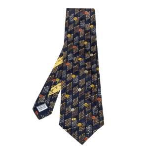 ربطة عنق فالنتينو حرير جاكار زهور أزرق ميدنايت