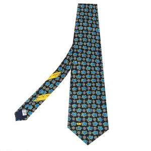 ربطة عنق فالنتينو حرير جاكار طباعة زهور أسود