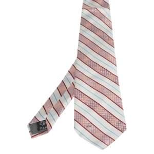 ربطة عنق فالنتينو حرير مخطط منقوش مائل وردي وأبيض