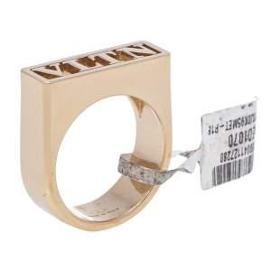 Valentino Gold Tone VLTN Logo Ring Size 65