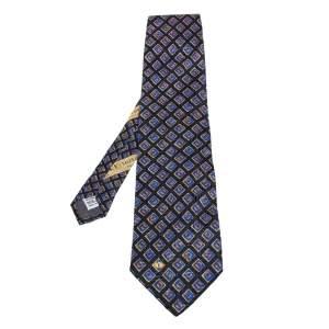 ربطة عنق فالنتينو تراديشينوال حرير أزرق كحلي مطبوع