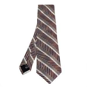 ربطة عنق فالنتينو حرير بني خطوط مائلة