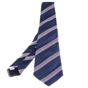 Valentino Blue Diagonal Striped Classic Silk Tie