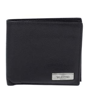 Valentino Black Leather Bifold Wallet