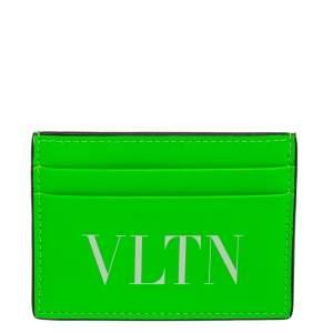 Valentino Neon Green Leather VLTN Card Holder