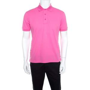 Valentino Pink Classic Pique Rockstud Untitled Polo T-Shirt M