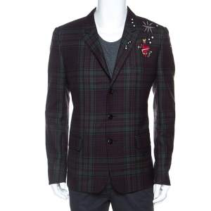 Valentino Bicolor Tartan Plaid Wool Embellished Detail Blazer XL