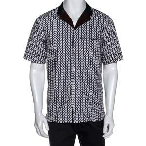 Valentino Bicolor Optical V Print Cotton Short Sleeve Shirt M