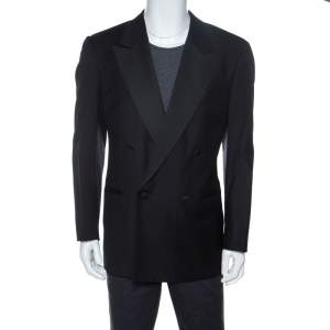 Valentino Uomo Black Wool Double Breasted Blazer XL