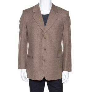 Valentino Brown Wool Three Buttoned Blazer XXL