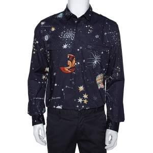 Valentino Navy Blue Cosmo Print Cotton Pocket Detail Shirt XL