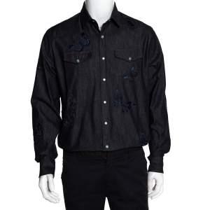 Valentino Indigo Denim Butterfly Embroidered Shirt L